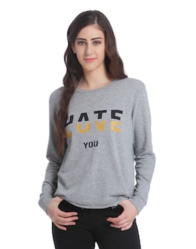 ONLY Women Printed Sweatshirt - Grey