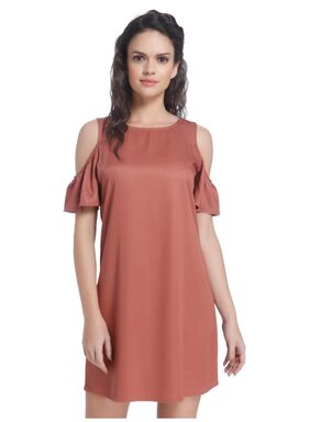 ONLY Viscose Solid A-line Dress Brown