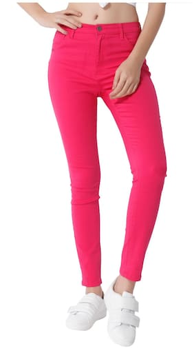 ONLY Women Slim Fit Mid Rise Solid Pants - Pink