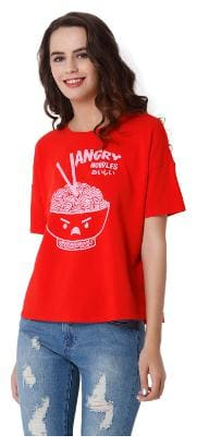 ONLY Women Printed Round neck T shirt - Red