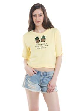 ONLY Women Printed Sweatshirt - Yellow
