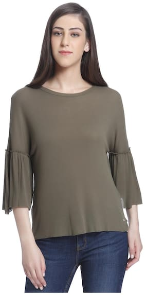 ONLY Women Solid Round neck T shirt - Green
