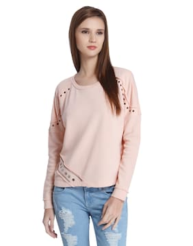 ONLY Women Solid Sweatshirt - Pink
