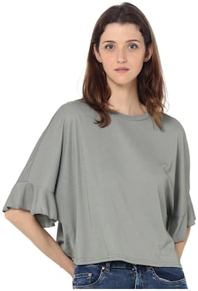 ONLY Women Solid Round neck T shirt - Grey