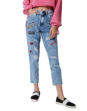 ONLY Women Regular Fit Mid Rise Printed Jeans - Blue