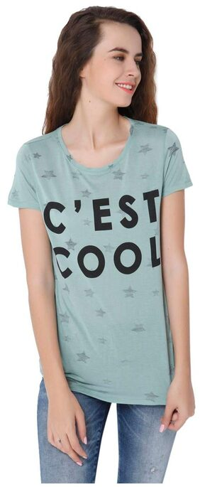 ONLY Printed Green T Shirt