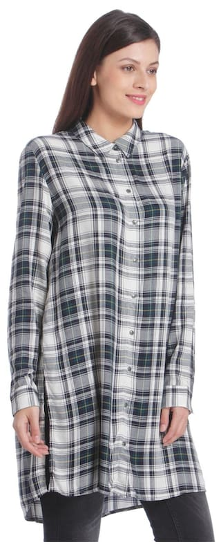 white Checkered Only Women's Casual Shirt Blue xwWFT0IqT