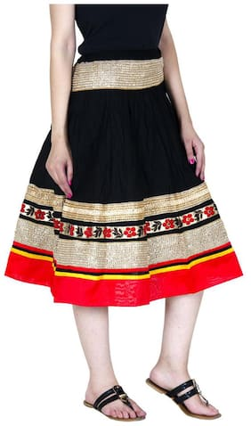 Ooltah Chashma Indian Women Golden Lace Border Cotton Knee Length Skirt With Dori;Length - 28 Inches Waist Size - 34 Inches