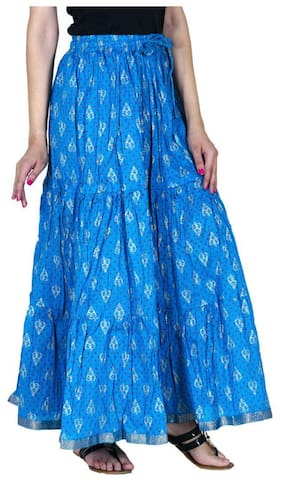 Ooltah Chashma Gold Printed Cotton Tier Long Skirt For Women ( Free Size) (size: Length- 40 Inches)