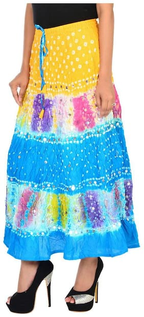 Ooltah Chashma Cotton Bandhej Sequins Work Long Skirt For Women (size: Length- 38 Inches) Waist- Non Stretch- 26 X After Stretch- 38 Inches