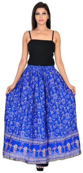 Ooltah Chashma Cotton Gold Printed Straight Long Skirt For Women (size: Length- 38 Inches) Waist- Non Stretch- 26 X After Stretch- 38 Inches