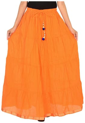 Ooltah Chashma Cotton Solid Tiered Long Skirt For Women (size: Length- 40 Inches) Waist- Non Stretch- 26 X After Stretch- 40 Inches