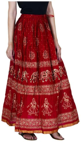Ooltah Chashma Gold Printed Cotton Long Skirt For Women ( Free Size) (size: Length- 40 Inches)
