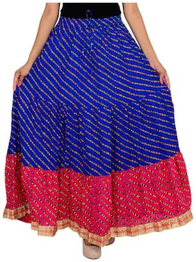 Ooltah Chashma Cotton Designer Party Wear Lace Work Long Skirt For Women (size: Length- 40 Inches) Waist- Non Stretch- 26 X After Stretch- 38 Inches
