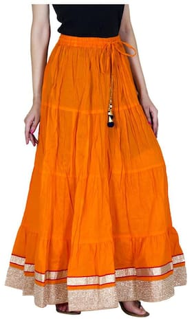 Ooltah Chashma Cotton Party Wear Golden Lace Work Long Skirt (size: Length- 40 Inches)