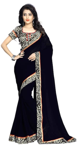 66523bdf0a6975 Women S Plain Chiffon Saree With Printed Border And Printed Raw Silk Blouse  -