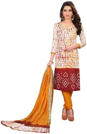 Optimal Multi Satin Cotton Handi Crafts Bandhani Work With Straight Salwar Suit