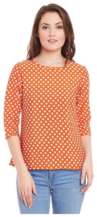 Orange Color Printed Top