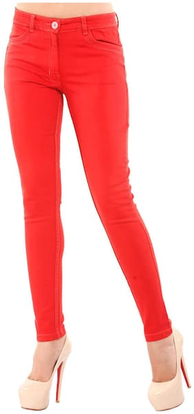 Orange Cotton And Lycra Trousers
