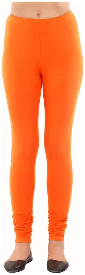 Orange Cotton And Lycra Leggings