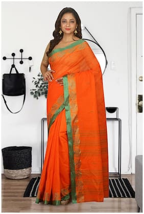 Orange Cotton Hand woven Tant Saree without Blouse
