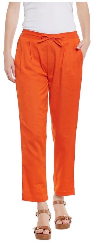 Orange Cotton Solid Trousers