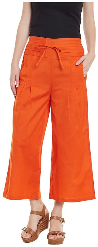 Orange Cotton Solid Palazzo Trousers