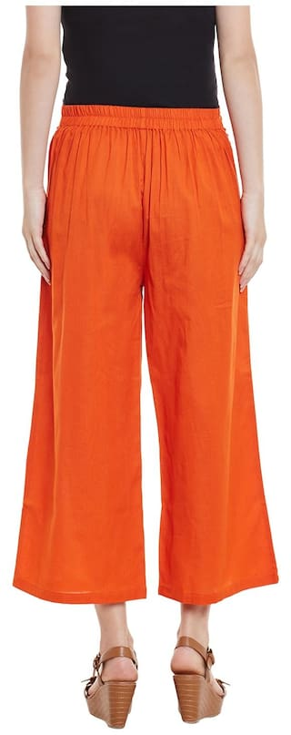 Solid Orange Palazzo Cotton Cotton Trousers Orange wqqzZx6p7