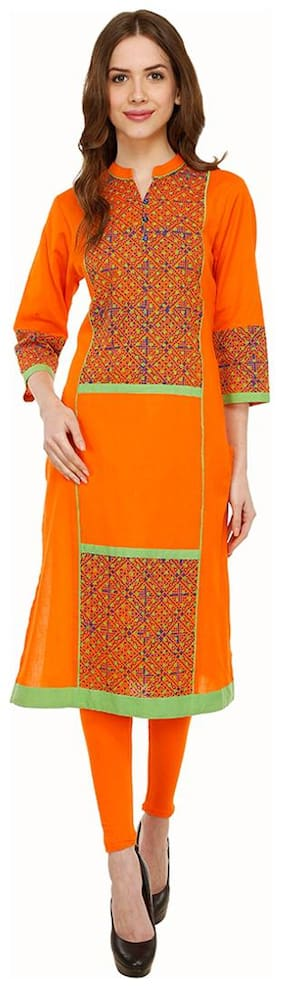 Luxury Living Orange Geometrical Block Print Kurti