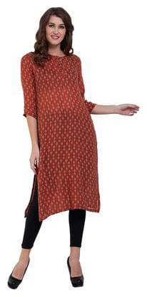 Damak Women Orange Rayon Printed A Line Kurta