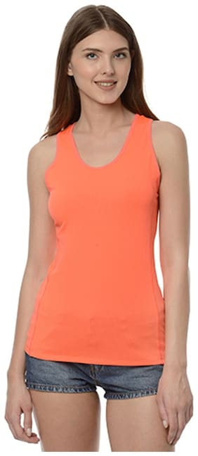 Orange solid Non padded Active wear top