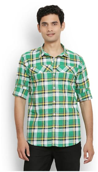 Green Fit Shirt Slim Valley Linen Orange Casual qEeDOK