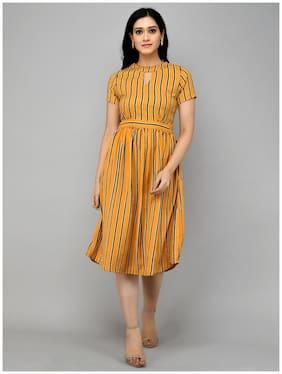 OSTARA Yellow Printed Empire dress