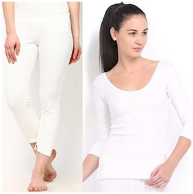 Oswal Combo of White Thermal Top and Lower for Women Free Socks