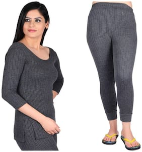 Oswal Ladies Gray Thermal Combo Of Top And Lower Free Socks