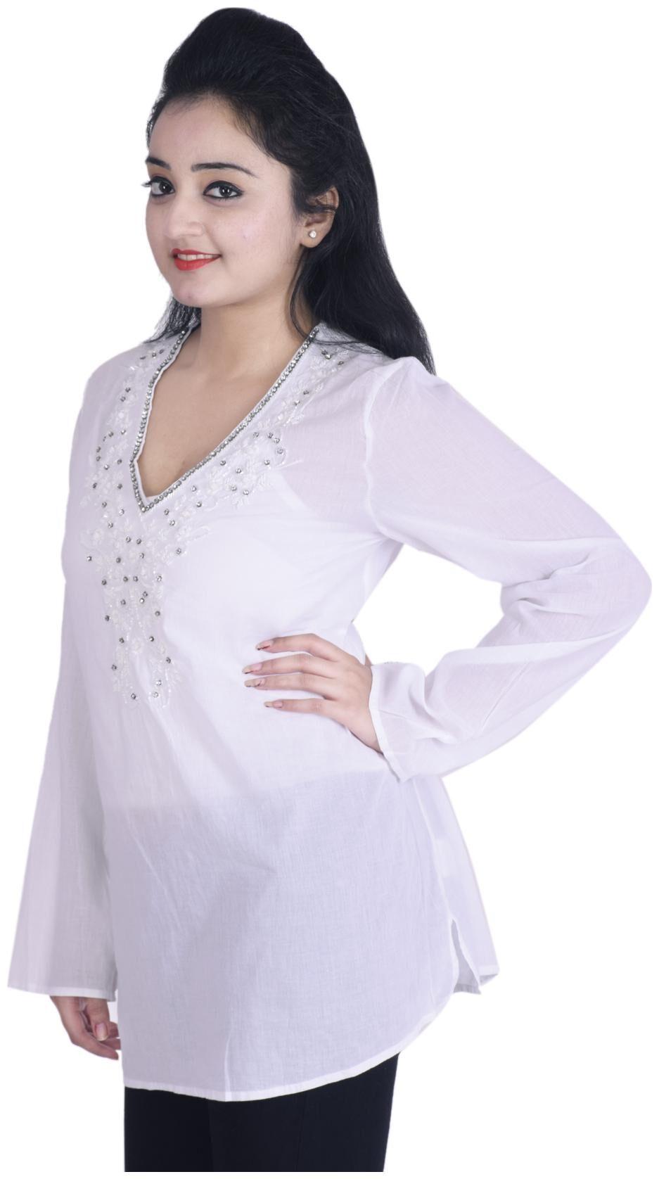 Phenomenal Ottoman Fashions Women Cotton Embroidered Straight Kurti White Frankydiablos Diy Chair Ideas Frankydiabloscom