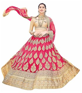 Outstanding Women's Embroidered Net Lehenga Choli With Un-stitched Blouse (stnsya8401_pink_free Size)