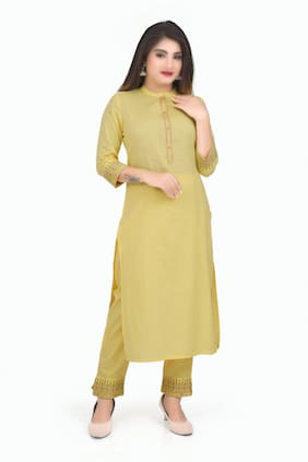 OVI Women Yellow Solid Straight Kurti With Pants