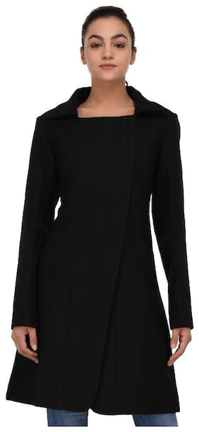 Owncraft Women Solid Regular fit Coat - Black