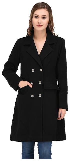 Owncraft Women Floral Regular Fit Coat - Black