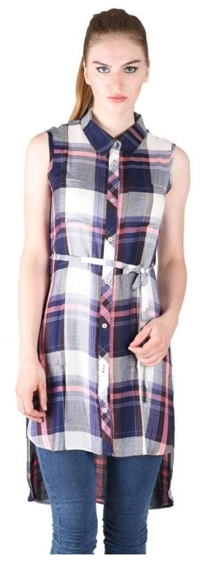 Owncraft Purple High Low Checkered Shirt
