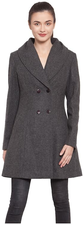 Owncraft Women Solid Regular FIt Coat - Grey