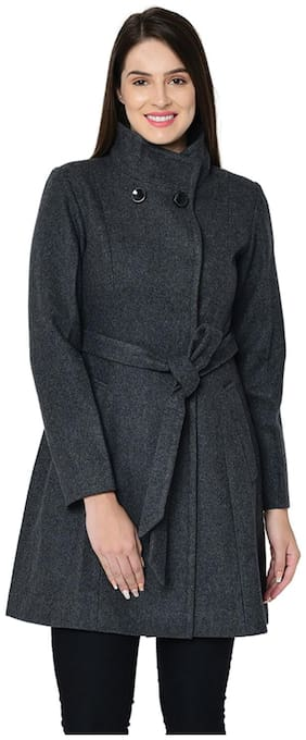 Owncraft Women Solid Regular fit Coat - Grey