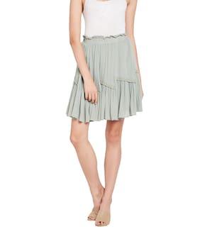 OXOLLOXO Solid A-line Skirt Midi Skirt - Grey