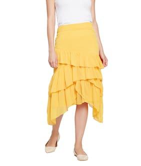 OXOLLOXO Solid A-line Skirt Midi Skirt - Yellow