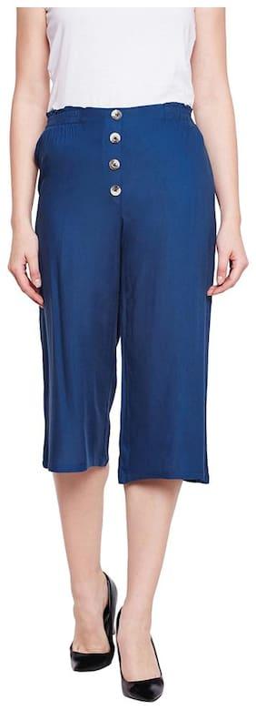 OXOLLOXO Women Solid Regular capri - Blue
