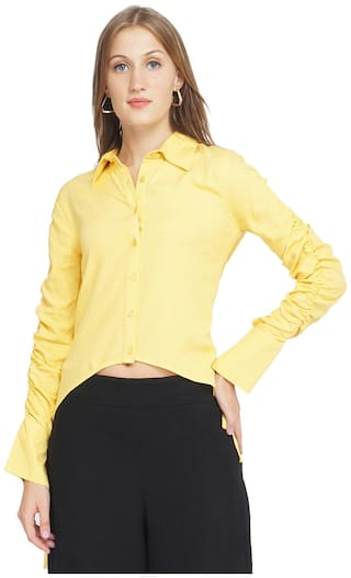 Oxolloxo Women Yellow Solid Regular Fit Shirt