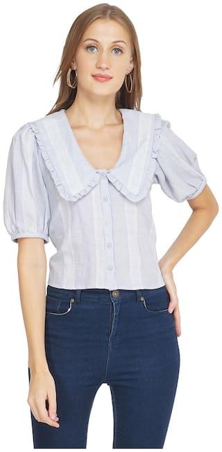 Oxolloxo Women Blue Striped Regular Fit Shirt