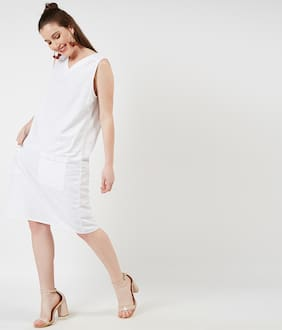 OXOLLOXO Cotton Solid A-line Dress White