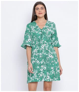 Oxolloxo Cotton Green Floral A Line Dress  For Women